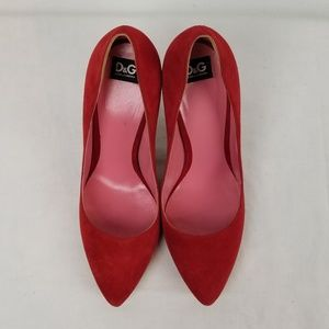 Dolce & Gabbana Red Suede Leather Pumps size 38